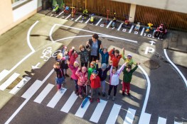 New road safety playground for juniors of the nursery Lazdynėlis